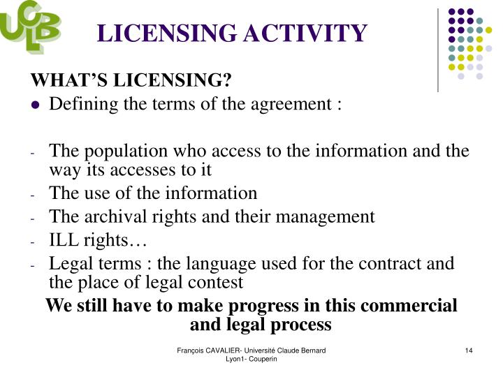 LICENSING ACTIVITY