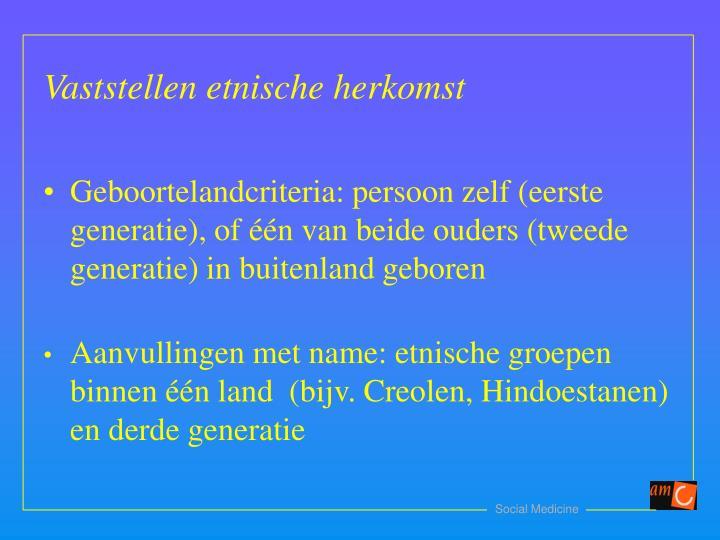 Geboortelandcriteria: persoon zelf (eerste generatie), of één van beide ouders (tweede generatie) in buitenland geboren