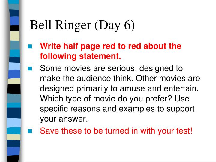 Write half page red to red about the following statement.