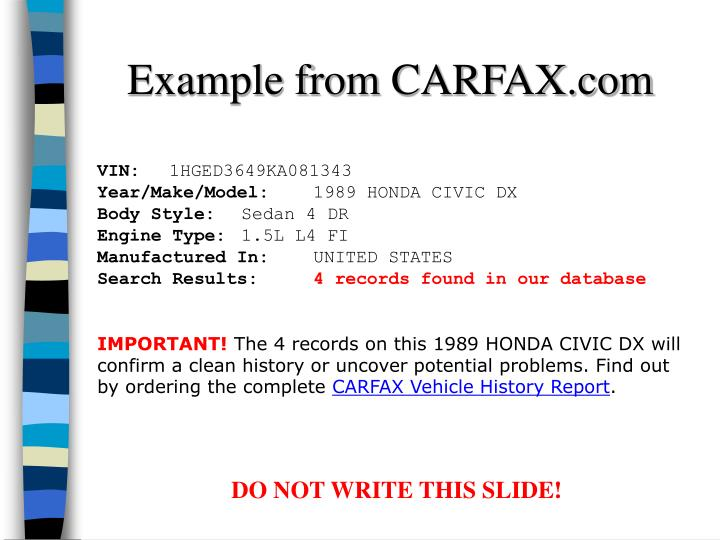 Example from CARFAX.com
