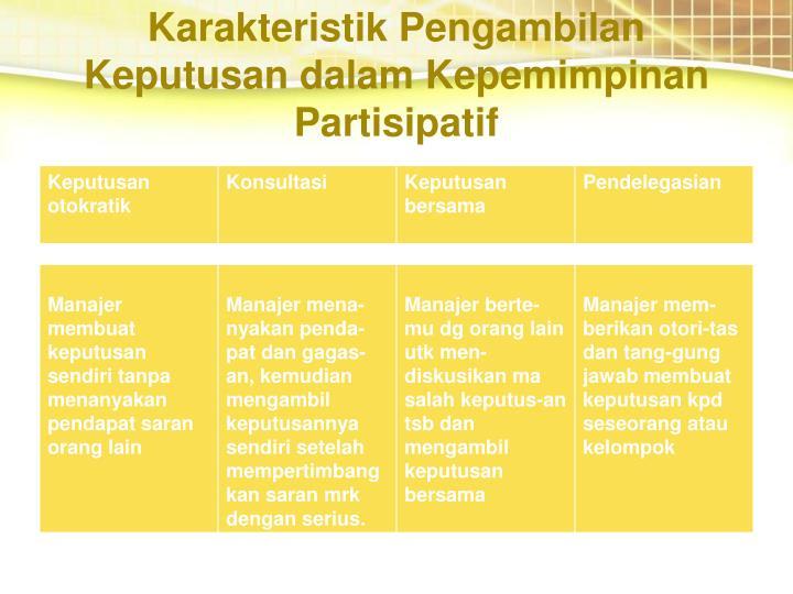 Karakteristik Pengambilan Keputusan dalam Kepemimpinan Partisipatif