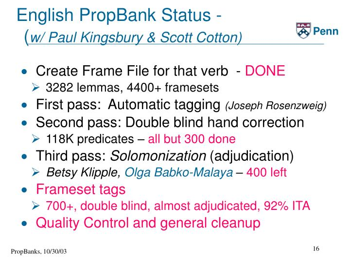 English PropBank Status -
