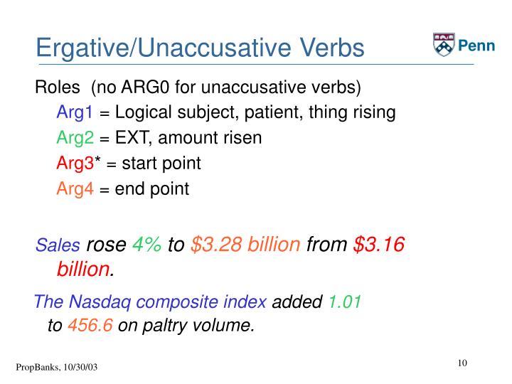 Ergative/Unaccusative Verbs