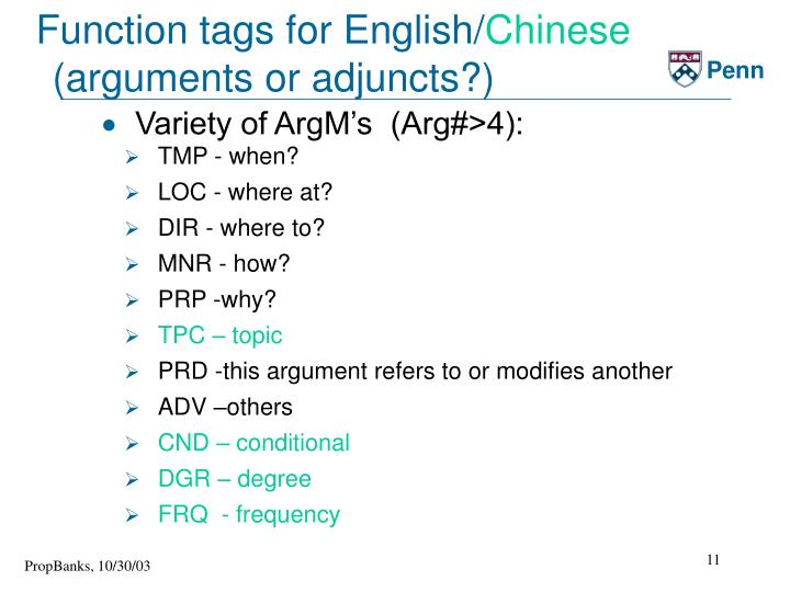 Function tags for English/