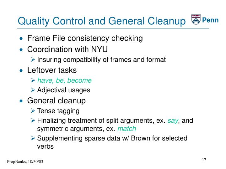 Quality Control and General Cleanup