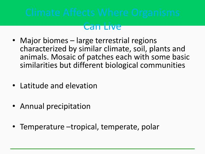 Climate Affects Where Organisms