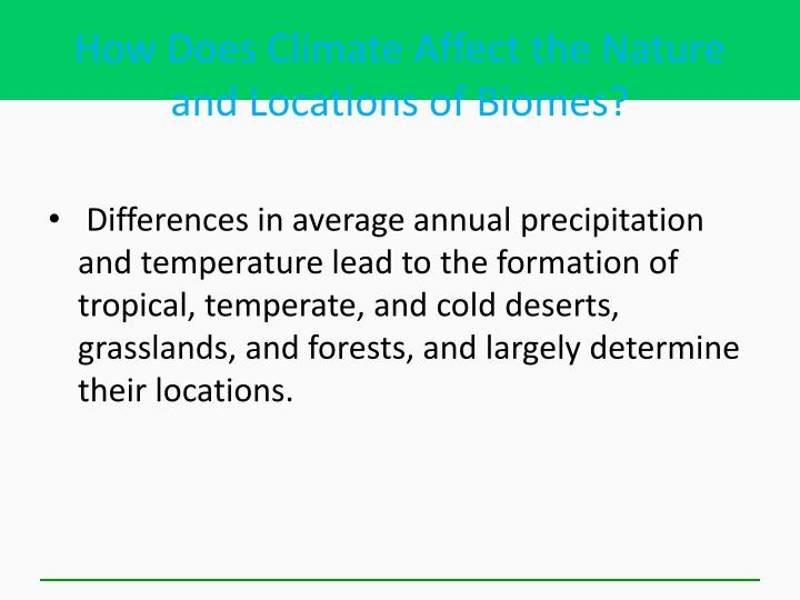 How Does Climate Affect the Nature and Locations of Biomes?