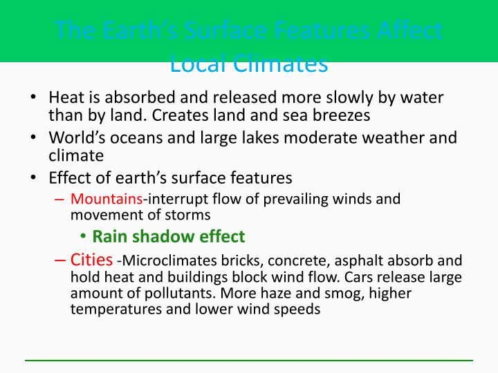 The Earth's Surface Features Affect Local Climates
