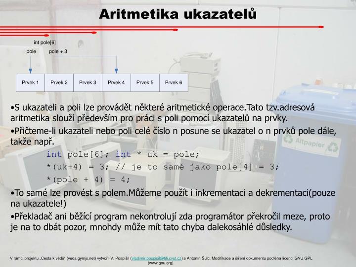 Aritmetika ukazatelů