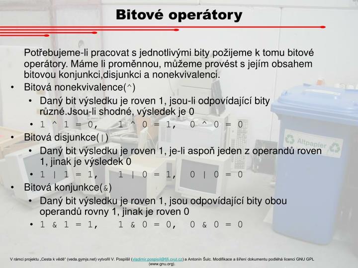 Bitové operátory