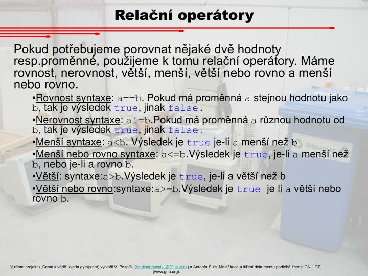 Relační operátory