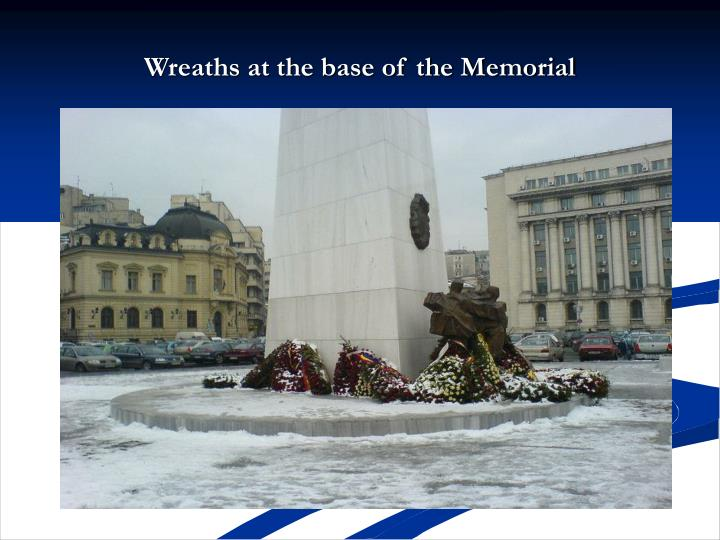 Wreaths at the base of the Memorial