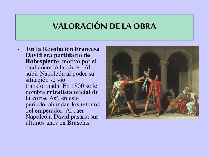 VALORACIÓN DE LA OBRA