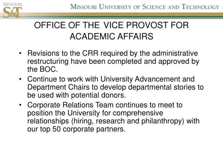 Office of the vice provost for academic affairs