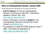 office of undergraduate studies january 20081