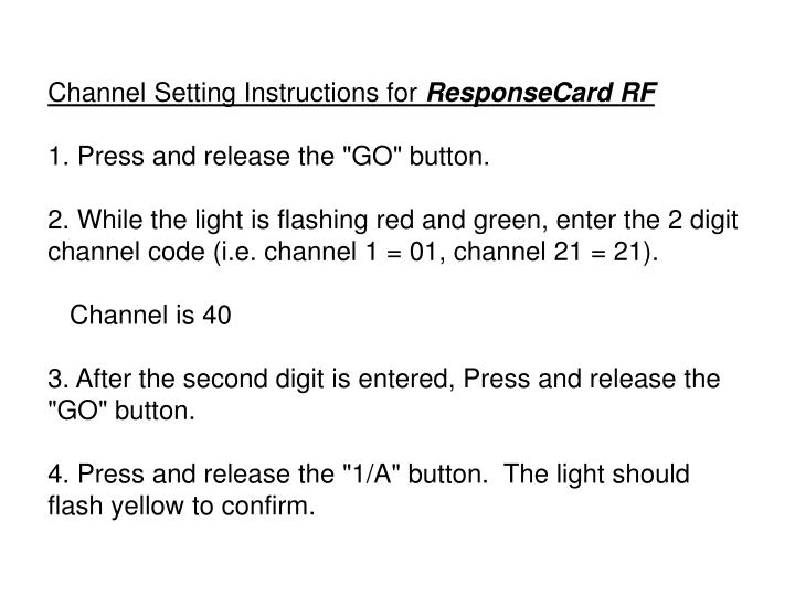 Channel Setting Instructions for
