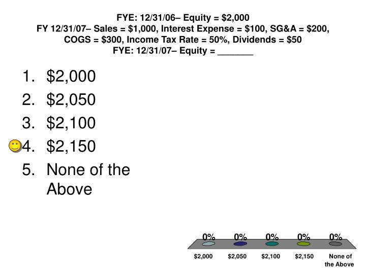 FYE: 12/31/06– Equity = $2,000