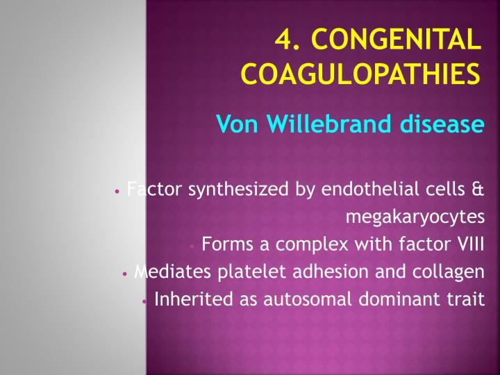 4. Congenital Coagulopathies