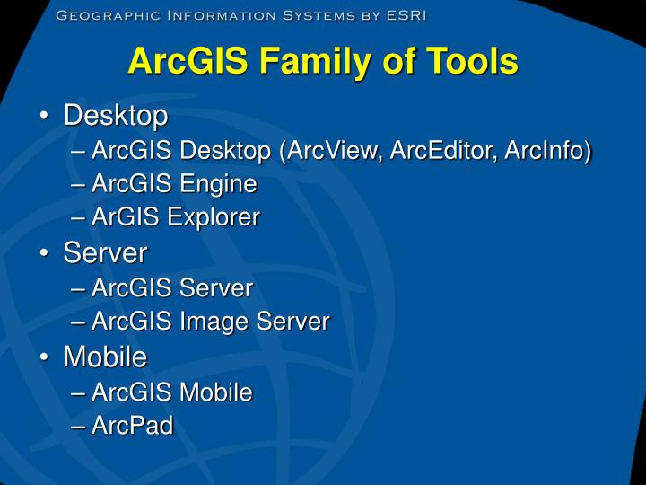Arcgis family of tools