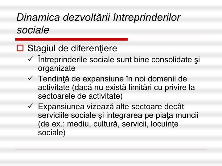 Dinamica dezvoltării întreprinderilor sociale