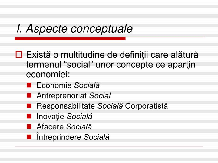 I. Aspecte conceptuale