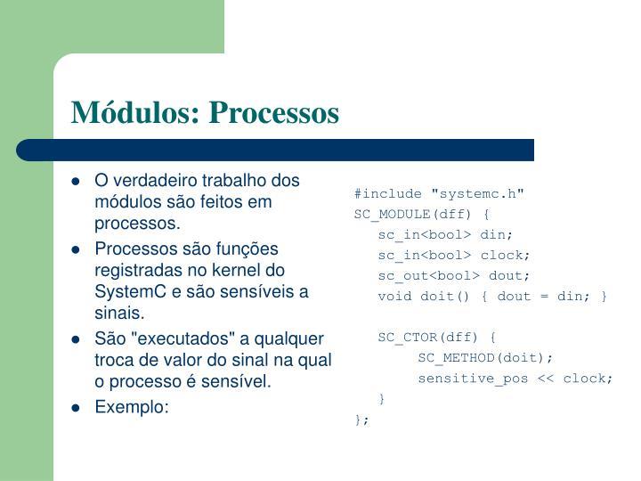 O verdadeiro trabalho dos módulos são feitos em processos.