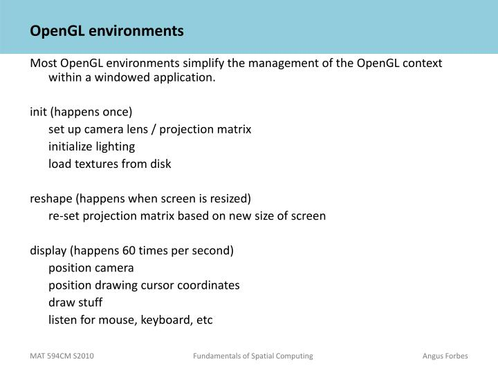Opengl environments