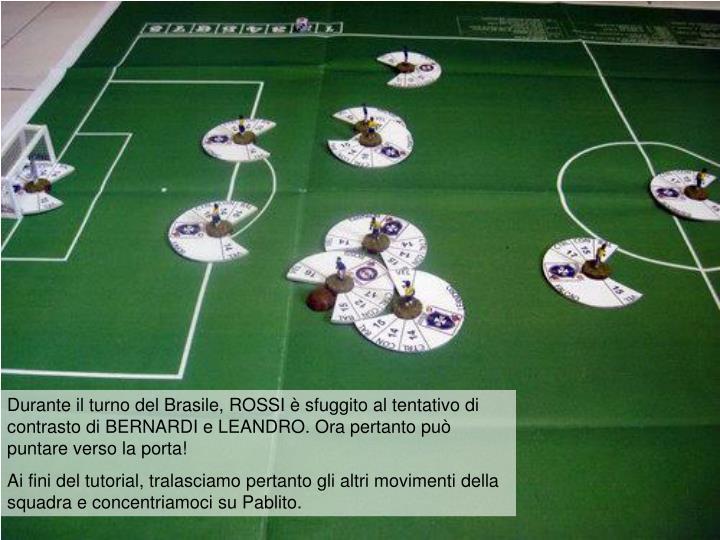 Durante il turno del Brasile, ROSSI è sfuggito al tentativo di contrasto di BERNARDI e LEANDRO. Ora pertanto può puntare verso la porta!