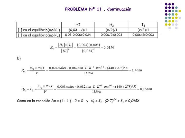 PROBLEMA Nº 11 . Continuación