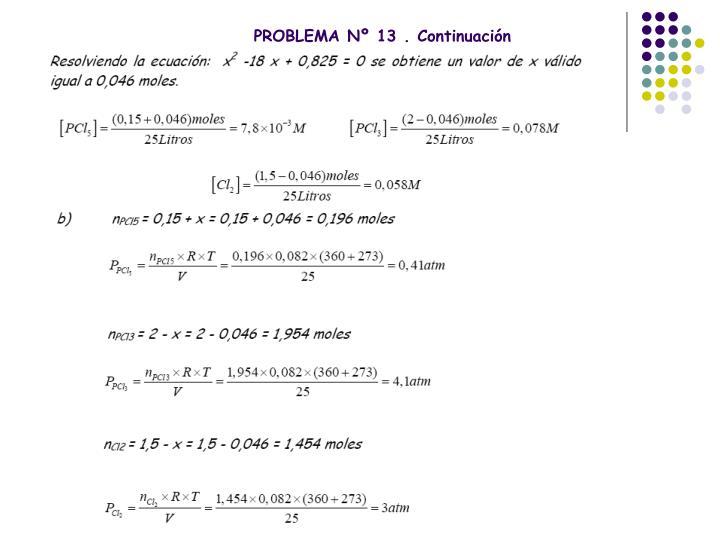 PROBLEMA Nº 13 . Continuación