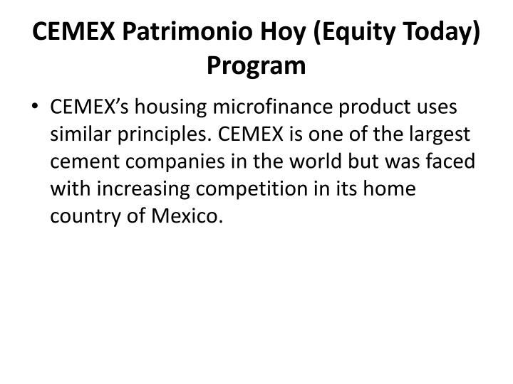 Cemex patrimonio hoy equity today program