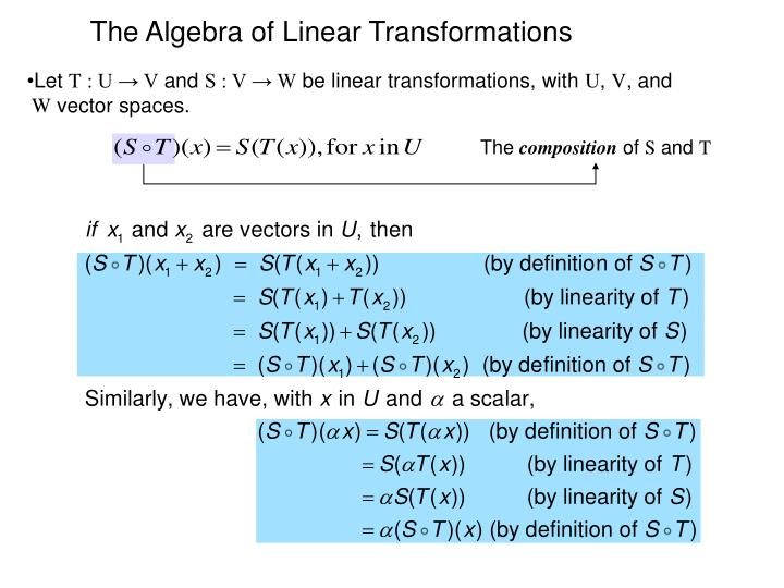The Algebra of Linear Transformations