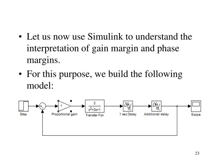 Let us now use Simulink to understand the interpretation of gain margin and phase margins.