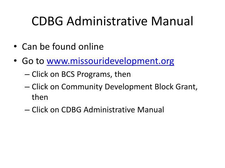 CDBG Administrative Manual