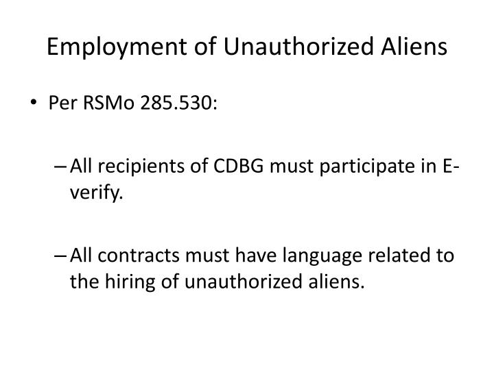 Employment of Unauthorized Aliens