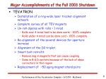 major accomplishments of the fall 2003 shutdown1