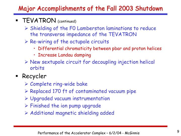 Major Accomplishments of the Fall 2003 Shutdown