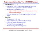 major accomplishments of the fall 2003 shutdown2