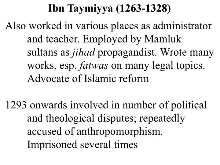 Ibn Taymiyya (1263-1328)