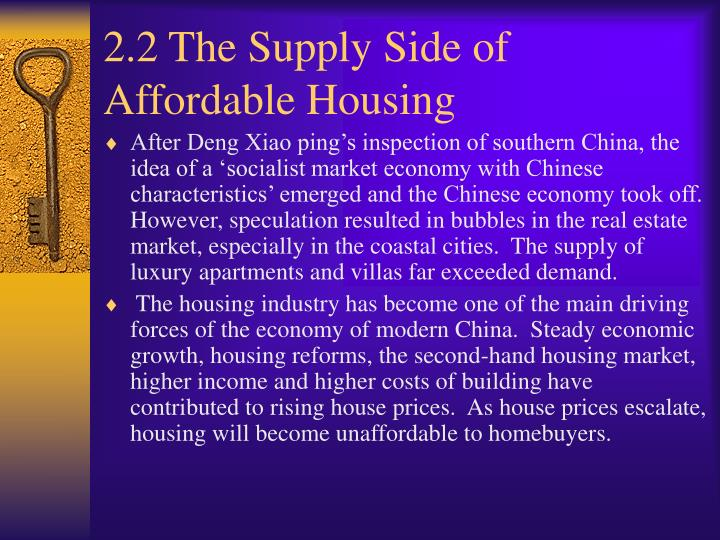2.2 The Supply Side of Affordable Housing