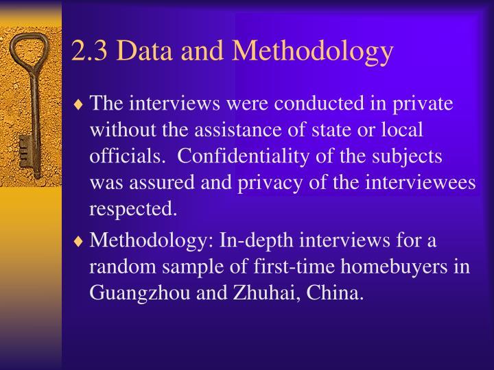 2.3 Data and Methodology