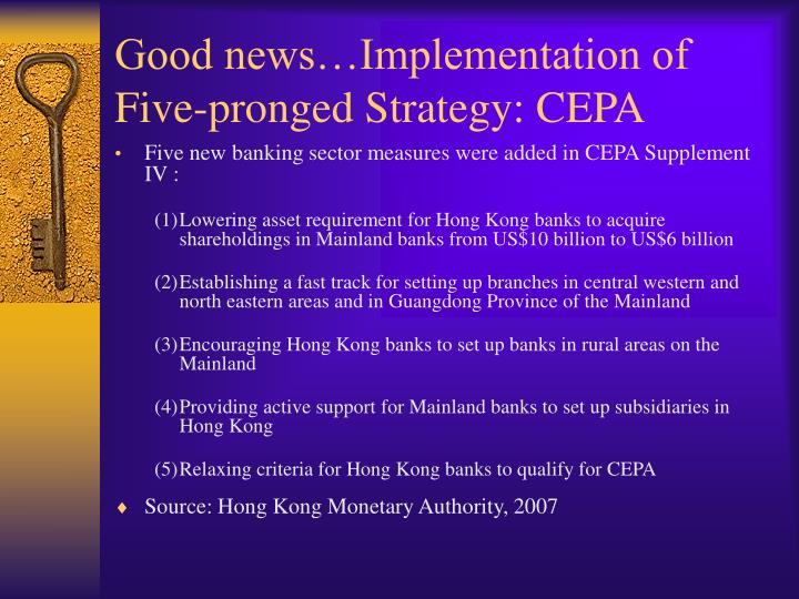 Good news…Implementation of Five-pronged Strategy: CEPA