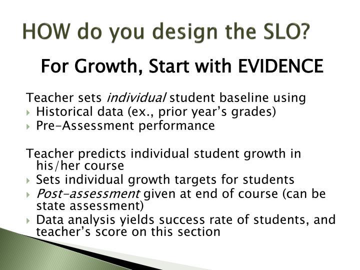 HOW do you design the SLO?