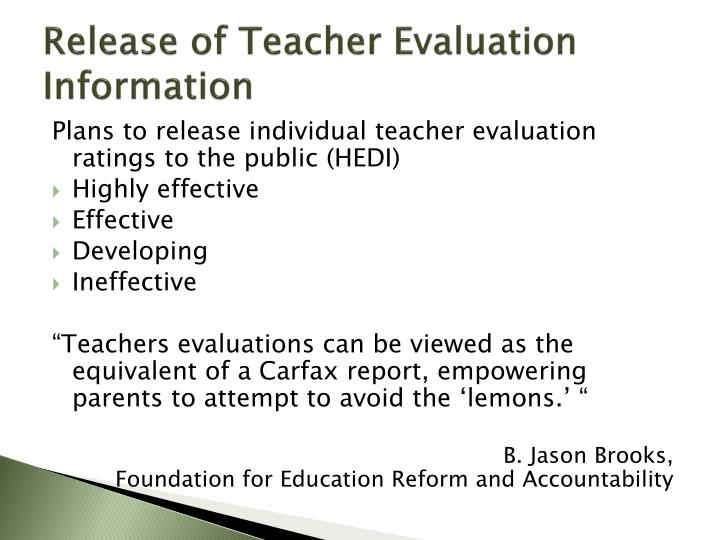 Release of Teacher Evaluation Information