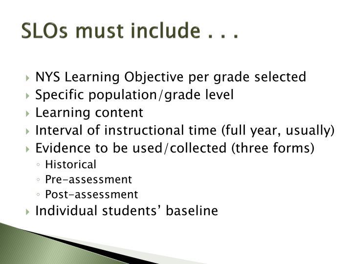 SLOs must include . . .