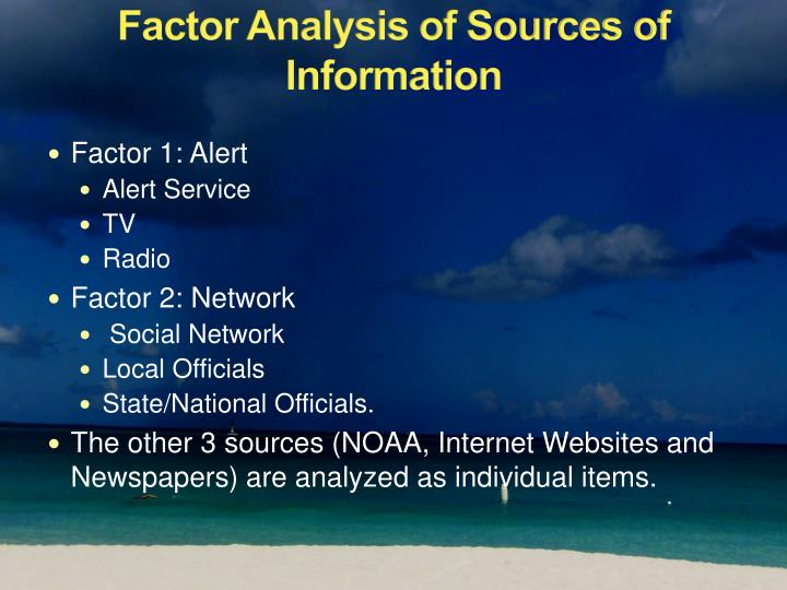 Factor Analysis of Sources of Information
