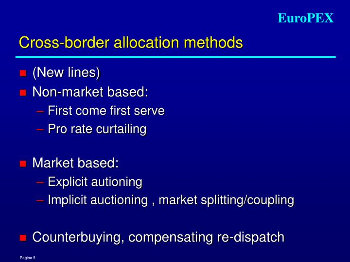 Cross-border allocation methods