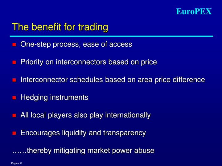 The benefit for trading