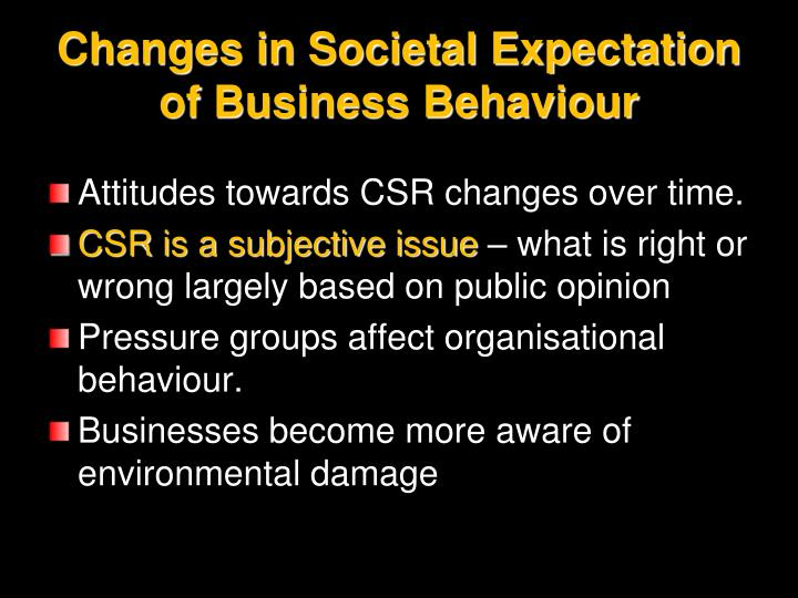 Changes in Societal Expectation of Business Behaviour