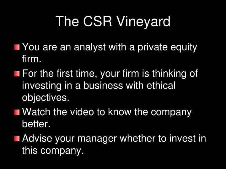 The CSR Vineyard